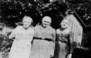 "Dollie ""Grannie"" Hylton is pictured on the right. Her sister, Nannie Pendelton, is on the left. The lady in the center is their mother, Mrs. Sara Hubbard."