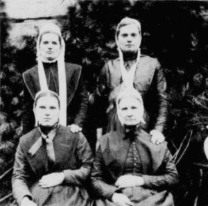 Pratt family women: Back row, left - Eliza Weddle (2nd. wife of A.J. Weddle), her sister Katherine Hylton on right. Front row - Margaret Keith, sister; Mary Whorley Pratt, mother.