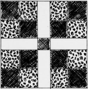 Cross In The Square Quilt Pattern, circa 1860.