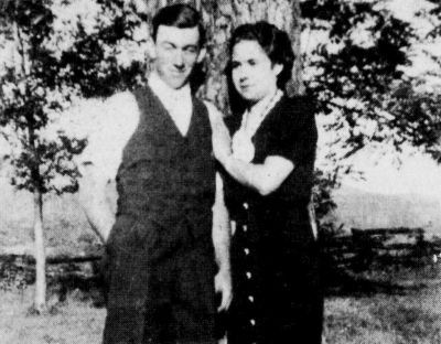 Oscar and Clayton in 1938, shortly before their marriage, in the yard of Mountain View Methodist Church.