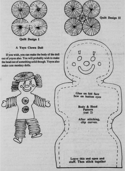 Pattern for Yoyo Doll and Yoyo Quilt.