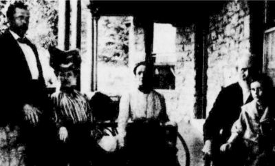 Left to Right: George L. Carter, Mayetta Wilkinson Carter, Jennie Reeves Wilkinson, mother of Mayetta, James Wilkinson, father of Mayetta and James Walter Carter - Goerge L. and Mayetta's only child. Photo circa 1900.