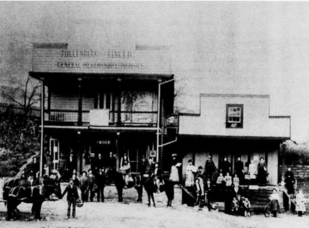 "This photograph was taken in 1890 and pictures shoppers at the Hillenberg & Kincer Store in Crockett, Virginia. Sindey Kincer's grandfather was Doctor Crockett Kincer, half owner of the store. Doctor was his actual first name and he was called ""Doc."""