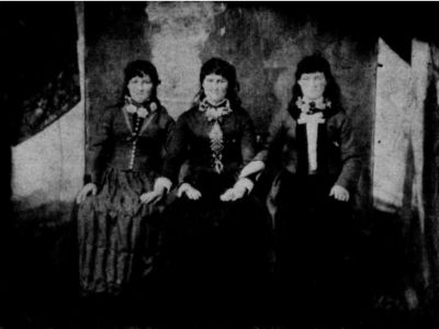 Left to right: Augusta Bartlett (King), Sarah Bartlett (Manning), and Martha Bartlett (Collins). They were the daughters of George and Nancy King Bartlett of Copper Hill, (Floyd County) Virginia. All of the photographs on this page were taken in 1889.