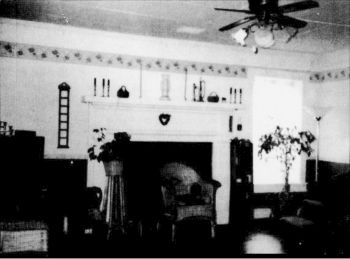 A view of the living room fireplace.