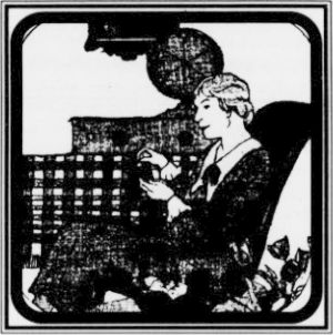 """The radio makes it possible to combine work and pleasure."" (This illustration and caption appeared in the February, 1929 issue of Successful Farming magazine.)"