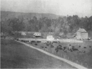 "Maykensaw Farm and Mill which was also located on Peppers Ferry Road, towards Max Meadows from the Poor Farm. Corn and wheat from the Poor Farm were hauled there to be ground into flour and cornmeal. The Mill was paid by taking a ""toll"" of the grain."