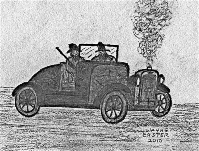 "The ""skeeter"" clattered to a stop... Drawing by Wayne Easter."