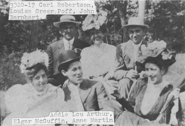 [3320-17] Taken at Fairmount 3rd Sunday in September, 1907. Carl Robertson, Mrs. Poff (Louise Greer), John Barnhart, Miss Arthur (Addie Lou), Elgar McGuffin, Anne Martin.