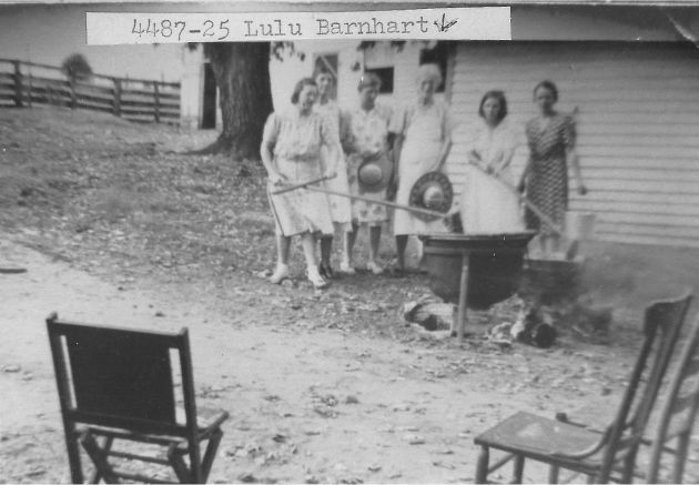 [4487-25] Apple Butter 'Billin' at Barnharts, Calloway, Virginia; in back yard, Lula Barnhart is in center in white apron.